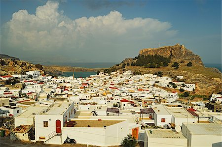 Lindos town and Acropolis of Lindos, Rhodes, Dodecanese, Aegean Sea, Greece, Europe Stock Photo - Premium Royalty-Free, Code: 600-07199973