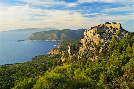 Monolithos Castle and Aegean Sea, Rhodes, Dodecanese, Aegean Sea, Greece, Europe Stock Photo - Premium Royalty-Free, Code: 600-07199986