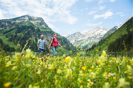Mature Couple Hiking, Vilsalpsee, Tannheim Valley, Tyrol, Austria Stock Photo - Premium Royalty-Free, Code: 600-07192154
