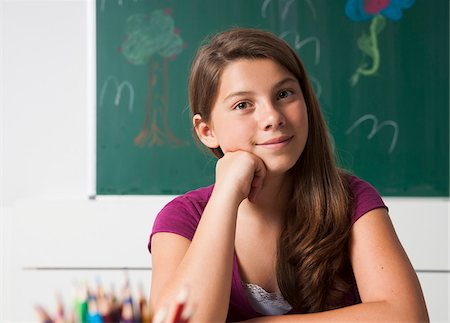 Portrait of Girl in Classroom, Mannheim, Baden-Wurttemberg, Germany Stock Photo - Premium Royalty-Free, Code: 600-07192152