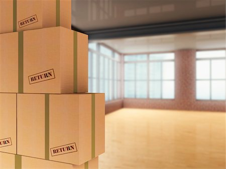 3D-Illustration of Pile of Cardboard Boxes to be Returned in Loft Stock Photo - Premium Royalty-Free, Code: 600-07206657