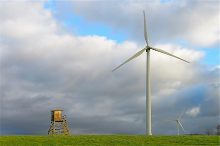 Hunting Blind and Wind Turbines, Hesse, Germany Stock Photo - Premium Royalty-Free, Code: 600-07206661