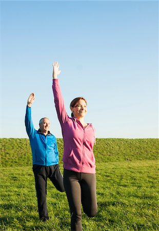 Man and Woman Exercising Outdoors, Baden-Wurttemberg, Germany Stock Photo - Premium Royalty-Free, Code: 600-07236618