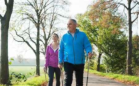 Couple Nordic Walking Outdoors, Mannheim, Baden-Wurttemberg, Germany Stock Photo - Premium Royalty-Free, Code: 600-07237877