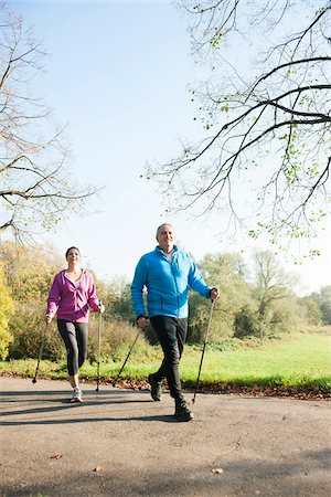 Couple Nordic Walking Outdoors, Mannheim, Baden-Wurttemberg, Germany Stock Photo - Premium Royalty-Free, Code: 600-07237883