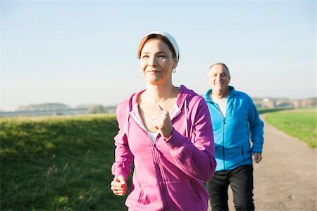 european - Couple Jogging Outdoors, Mannheim, Baden-Wurttemberg, Germany Stock Photo - Premium Royalty-Free, Code: 600-07237891