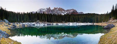 fall trees lake - Lake Karersee and Latemar before Sunrise in Autumn, South Tyrol, Italy Stock Photo - Premium Royalty-Free, Code: 600-07238066