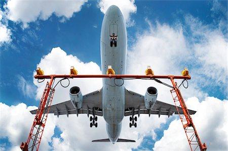 Low angle view of jumbo jet landing at Pearson International Airport, Toronto, Ontario, Canada12 Stock Photo - Premium Royalty-Free, Code: 600-07240899