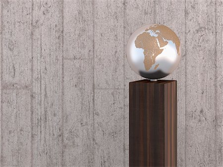 shape - Illustration of metal globe on wooden stand, showing Africa, Europe and Asia, studio shot on grey, wooden background Stock Photo - Premium Royalty-Free, Code: 600-07311007