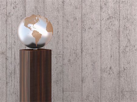 Illustration of metal globe on wooden stand, showing North and South America, studio shot on grey, wooden background Stock Photo - Premium Royalty-Free, Code: 600-07311008