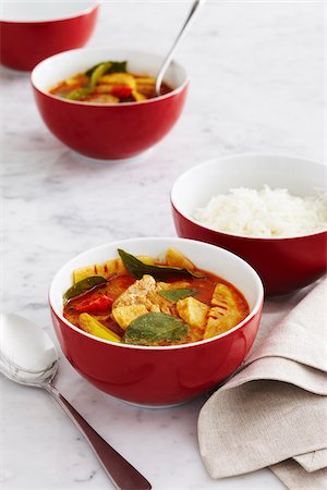 Thai Pork Curry with Side of Rice, Studio Shot Stock Photo - Premium Royalty-Free, Code: 600-07311286