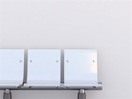 Illustration of close-up of three white seats in a row on white background Stock Photo - Premium Royalty-Free, Code: 600-07311304