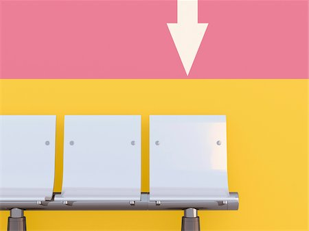 Illustration of three seats in a row, in front of colored wall with arrow pointing downwards Stock Photo - Premium Royalty-Free, Code: 600-07311305