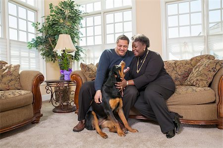 Mature Couple Petting Dog in Living Room at Home Stock Photo - Premium Royalty-Free, Code: 600-07368540