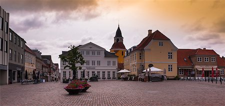 Town Square with Sidewalk Cafes, Faaborg, Fyn Island, Denmark Stock Photo - Premium Royalty-Free, Code: 600-07363914