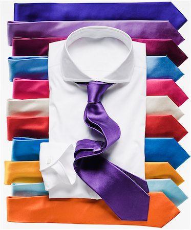 White Shirt with Purple Tie on Many Colorful Ties Stock Photo - Premium Royalty-Free, Code: 600-07434957