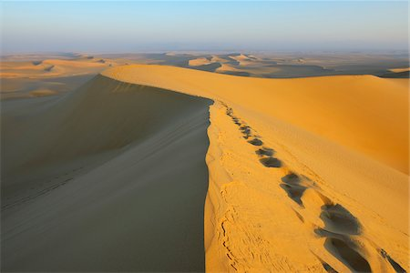 Scenic overview and Footprints on top of Sand Dune, Matruh, Great Sand Sea, Libyan Desert, Sahara Desert, Egypt, North Africa, Africa Photographie de stock - Premium Libres de Droits, Code: 600-07431197