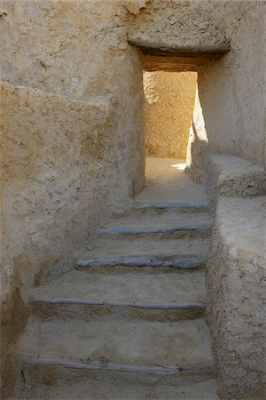 Stairs and Open Doorway, Fortress of Shali (Schali) Old Town of Siwa, Siwa Oasis, Matruh, Libyan Desert, Sahara Desert, Egypt, North Africa, Africa Stock Photo - Premium Royalty-Free, Code: 600-07431202
