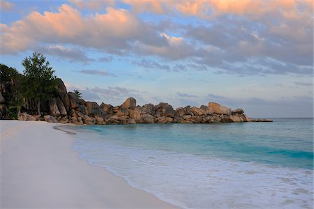 seychelles - Grand Anse Beach at Sunrise, La Digue, Seychelles Stock Photo - Premium Royalty-Free, Code: 600-07453842