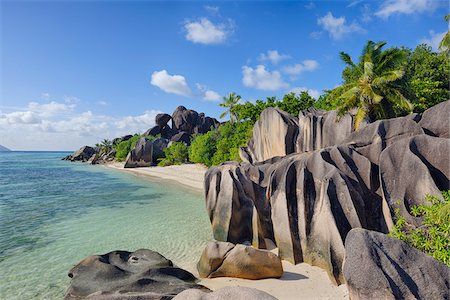 Rock Formations and Palm Trees, Anse Source d´Argent, La Digue, Seychelles Fotografie stock - Premium Royalty-Free, Codice: 600-07453855