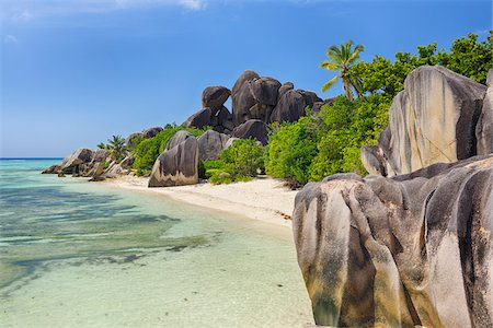 seychelles - Rock Formations and Palm Trees, Anse Source d´Argent, La Digue, Seychelles Stock Photo - Premium Royalty-Free, Code: 600-07453852