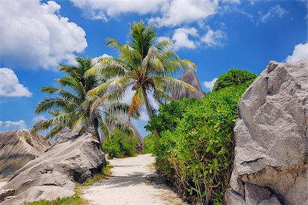 seychelles - Footpath through Rocks and Palm Trees, Anse Source d´Argent, La Digue, Seychelles Stock Photo - Premium Royalty-Free, Code: 600-07453860
