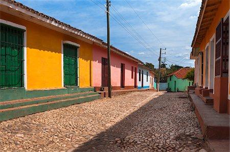 Colorful buildings, street scene, Trinidad, Cuba, West Indies, Caribbean Stock Photo - Premium Royalty-Free, Code: 600-07486865