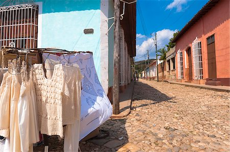 Close-up of Souvenir shop and street scene, Trinidad, Cuba, West Indies, Caribbean Stock Photo - Premium Royalty-Free, Code: 600-07486876