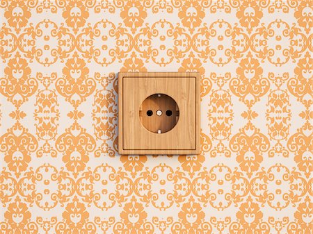 Digital Illustration of Wooden Socket on Wall with Wallpaper Stock Photo - Premium Royalty-Free, Code: 600-07541337