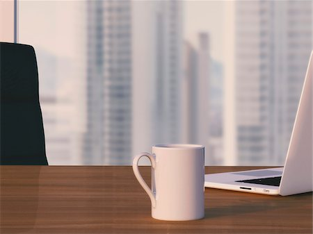 selective focus computer no people - Digital Illustration of Desk with Arm Chair, Laptop and Mug in front of Skyline Stock Photo - Premium Royalty-Free, Code: 600-07541333
