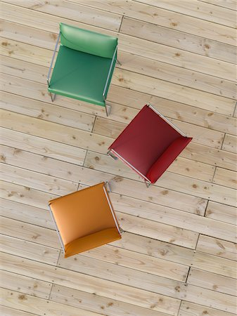 red chair - Digital Illustration of Overhead View of Red, Green, and Orange Chairs on Hardwood Floor Stock Photo - Premium Royalty-Free, Code: 600-07584845