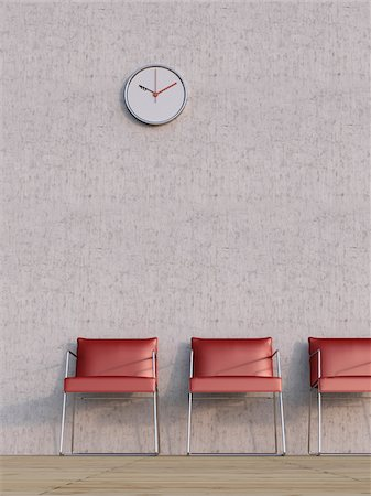 red chair - Digital Illustration of Three Red Chairs in a Row in front of Concrete Wall Stock Photo - Premium Royalty-Free, Code: 600-07584846
