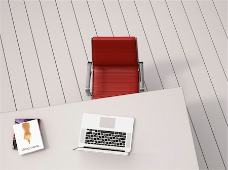 red chair - Digital Illustration of Overhead View of Desk with Red Chair, Laptop and Books Stock Photo - Premium Royalty-Free, Code: 600-07584840