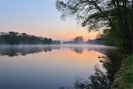 River Main in the Dawn, Spring, Dorfprozelten, Spessart, Franconia, Bavaria, Germany Stock Photo - Premium Royalty-Free, Code: 600-07599958
