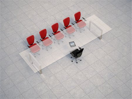 Illustration of glass conference table with business chairs on granite tiles, studio shot Stock Photo - Premium Royalty-Free, Code: 600-07608282