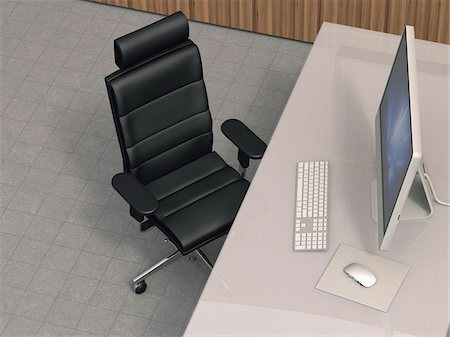 Illustration of modern work station with desktop computer, leather office chair and desk with acrylic glass desktop, studio shot Stock Photo - Premium Royalty-Free, Code: 600-07608283