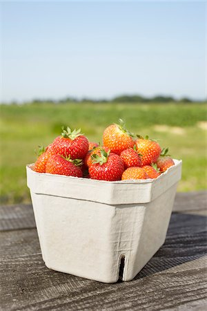 strawberries - Close-up of freshly picked strawberries in box container on table outdoors, Germany Stock Photo - Premium Royalty-Free, Code: 600-07600009