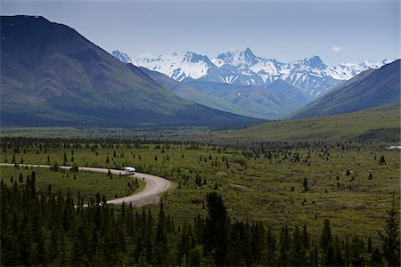 Road through Denali National Park, Alaska, USA Stock Photo - Premium Royalty-Free, Code: 600-07650786
