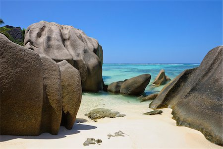 seychelles - Anse Source d'Argent with Sculpted Rocks, La Digue, Seychelles Stock Photo - Premium Royalty-Free, Code: 600-07653896