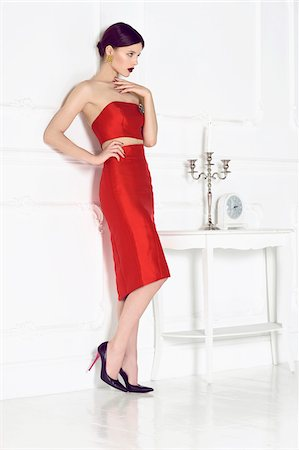 sexi women full body - Portrait of Young Woman in Red Dress Stock Photo - Premium Royalty-Free, Code: 600-07672171