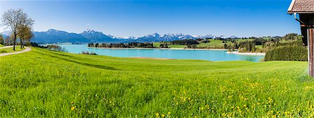 Lake Forggensee with Ammergau Alps and Tannheim Range in the background in Spring, Bavaria, Germany Stock Photo - Premium Royalty-Free, Code: 600-07738599