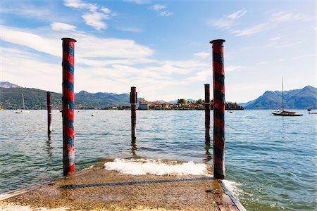 Jetty in Spring with Isola Bella, Borromean Islands, Lago Maggiore, Piedmont, Italy Stock Photo - Premium Royalty-Free, Code: 600-07738608