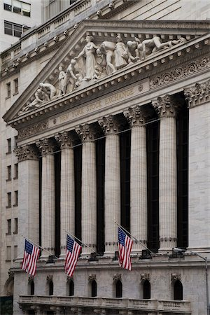 stock exchange building - New York Stock Exchange, New York City, New York, USA Stock Photo - Premium Royalty-Free, Code: 600-07760315