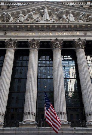 stock exchange building - New York Stock Exchange, New York City, New York, USA Stock Photo - Premium Royalty-Free, Code: 600-07760316
