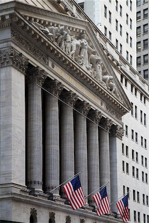 stock exchange building - New York Stock Exchange, New York City, New York, USA Stock Photo - Premium Royalty-Free, Code: 600-07760317