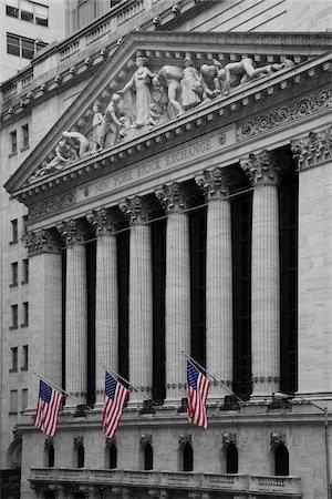 stock exchange building - New York Stock Exchange, New York City, New York, USA Stock Photo - Premium Royalty-Free, Code: 600-07760340