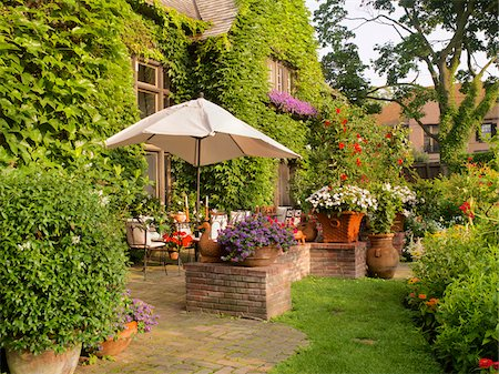 seasonal - View of private garden and patio of home in summer, Toronto, Ontario, Canada Stock Photo - Premium Royalty-Free, Code: 600-07803122