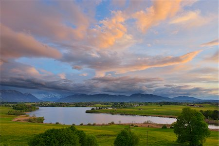 sky - Countryside with Lake at Sunset, Spring, Lake Riegsee, Upper Bavaria, Bavaria, Germany Stock Photo - Premium Royalty-Free, Code: 600-07844433