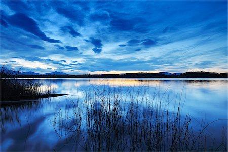 Lake at Dusk, Bannwaldsee, Fuessen, Bavaria, Germany Stock Photo - Premium Royalty-Free, Code: 600-07844444