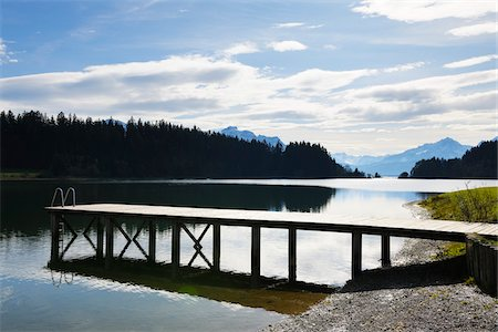 Wooden Jetty in Lake, Illasbergsee, Halblech, Bavaria, Germany Stock Photo - Premium Royalty-Free, Code: 600-07844441